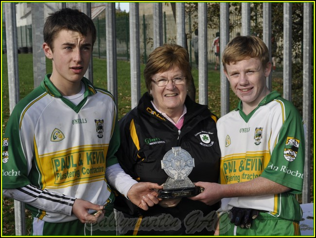 an Riochts U14 Captains recieve Winners trophy @ Ballymartins 90th Celebration Tournament