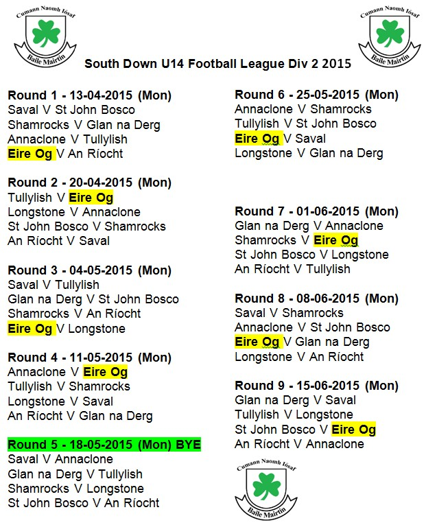 U14 Boys 2015 South Down Fixtures